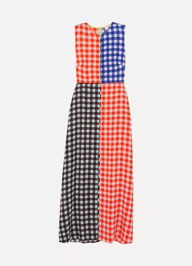 Diane von Furstenberg - Gingham Stretch-silk Maxi Dress - Blue