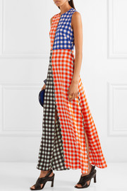 Diane von Furstenberg Gingham stretch-silk maxi dress