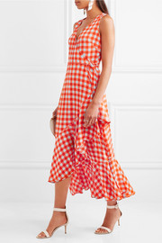 Diane von Furstenberg Ruffled gingham stretch-silk wrap-effect midi dress