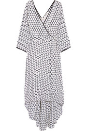 Asymmetric polka-dot silk midi wrap dress
