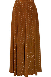 Diane von Furstenberg Polka-dot washed-silk maxi skirt