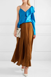 Polka-dot washed-silk maxi skirt