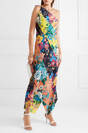 Diane von Furstenberg One-shoulder printed silk crepe de chine maxi dress
