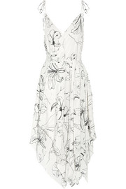 Diane von Furstenberg Asymmetric printed silk crepe de chine midi dress