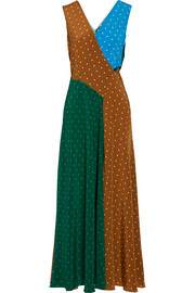 Diane von Furstenberg Cutout polka-dot silk crepe de chine maxi dress