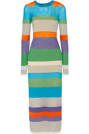Striped stretch cotton-blend midi dress