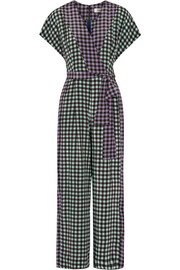 Gingham silk crepe de chine jumpsuit