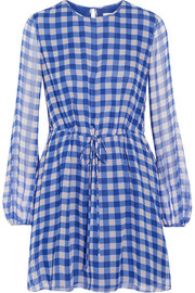 Gingham silk-chiffon mini dress