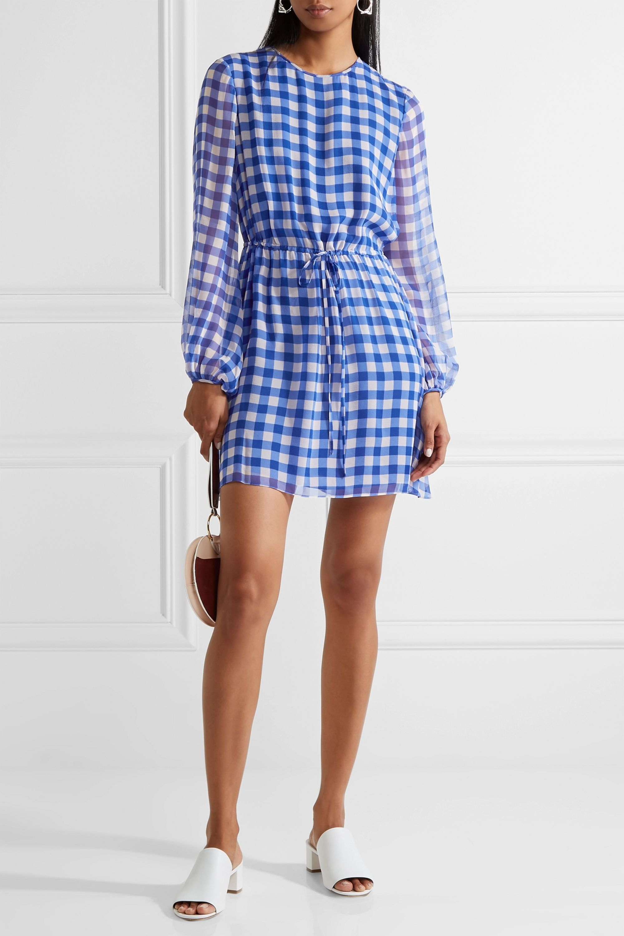 Diane von Furstenberg Gingham silk-chiffon mini dress