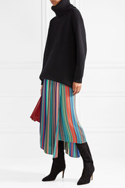 Diane von Furstenberg Layered striped crepe de chine midi skirt