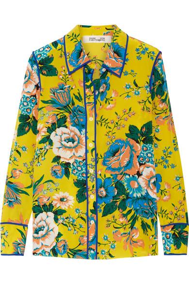 Diane von Furstenberg - Printed Silk Crepe De Chine Shirt - Yellow