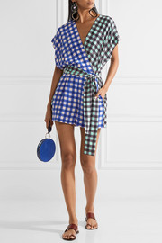 Diane von Furstenberg Wrap-effect gingham silk crepe de chine playsuit