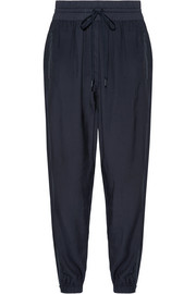 Shell-trimmed twill track pants