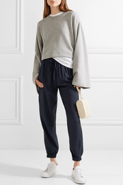DKNY Shell-trimmed twill track pants