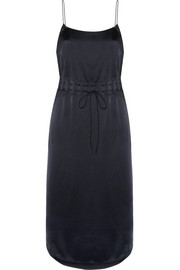DKNY Gathered satin slip dress