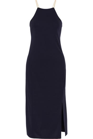 DKNY - Lace-up Cady Dress - Midnight blue at NET-A-PORTER
