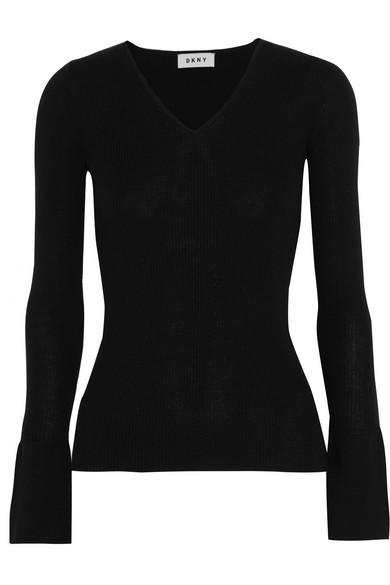 DKNY - Ribbed Silk, Wool And Cashmere-blend Sweater - Black at NET-A-PORTER