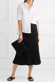 Ribbed stretch-knit midi skirt