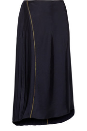 Asymmetric pleated satin midi skirt