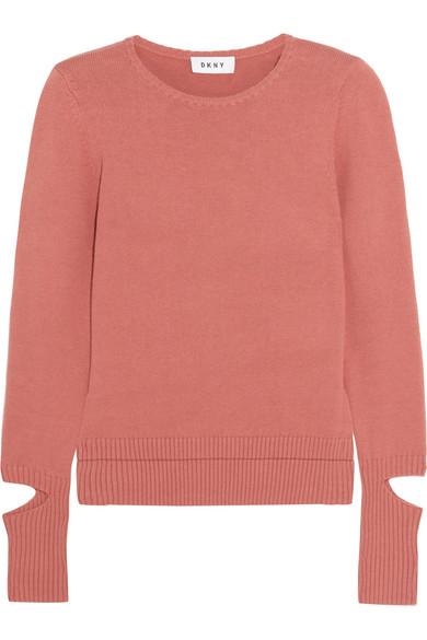 DKNY - Cutout Cotton-blend Sweater - Brick at NET-A-PORTER