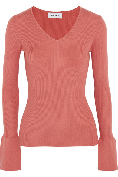 DKNY - Ribbed Silk, Wool And Cashmere-blend Sweater - Brick at NET-A-PORTER