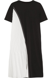 DKNY Two-tone stretch-jersey and plissé satin dress