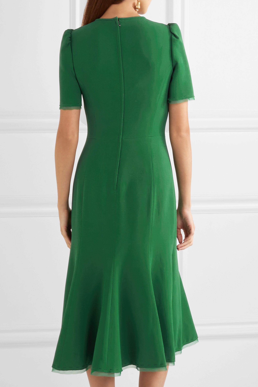 Dolce & Gabbana Georgette-trimmed crepe midi dress