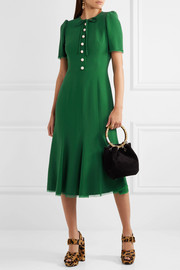 Dolce & Gabbana Georgette-trimmed crepe midi dress