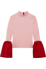 Staud Kiku taffeta-trimmed stretch-ponte turtleneck top