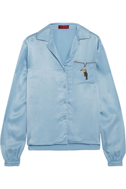 STAUD Sho embroidered satin shirt