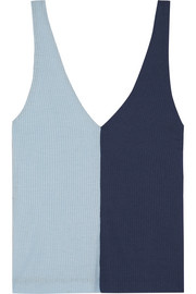 Aki two-tone ribbed stretch-knit tank