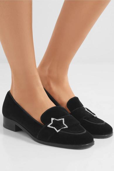 Alexa Chung Woman Crystal-embellished Velvet Loafers Black Size 36 AlexaChung 8W8PZZ