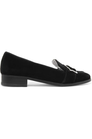 ALEXACHUNG - Crystal-embellished Velvet Loafers - Black