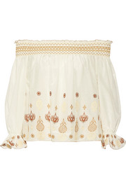 Rachel Zoe Veronica off-the-shoulder embroidered cotton and silk-blend voile top