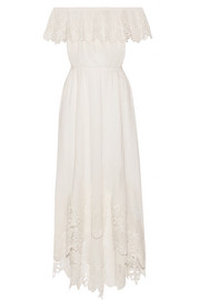 Hasley off-the-shoulder crochet-trimmed cotton-gauze midi dress