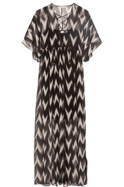 Carroll printed crinkled silk-chiffon maxi dress