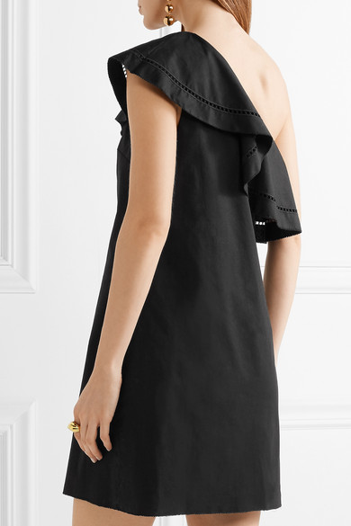Kendall One-shoulder Embroidered Stretch-cotton Poplin Mini Dress - Black Rachel Zoe pjpGs