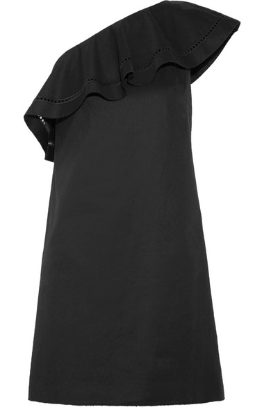 Kendall One-shoulder Embroidered Stretch-cotton Poplin Mini Dress - Black Rachel Zoe Sale Cheap Online x4chhIF