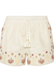 Stephanie embroidered cotton and silk-blend voile shorts