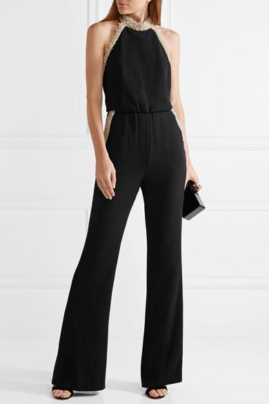 74bf43c09f11 Rachel Zoe. Elinor embellished crepe halterneck jumpsuit