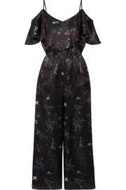 Houghton ruffled floral-print silk-satin jumpsuit