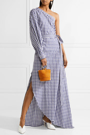 One-shoulder gingham cotton wrap gown