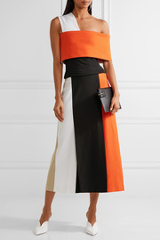 Color-block stretch-knit midi skirt