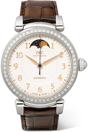Da Vinci Automatic Moon Phase 36 alligator, stainless steel and diamond watch