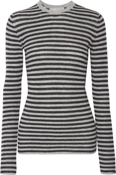 Vince - Striped Cashmere Sweater - Gray
