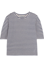 Striped silk-blend jersey T-shirt