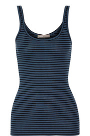 Vince Striped ribbed Pima cotton and modal-blend tank