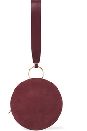 Circle two-tone leather and suede clutch