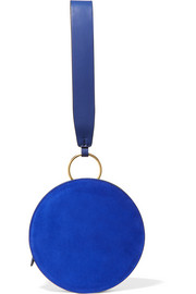 Circle leather and suede clutch
