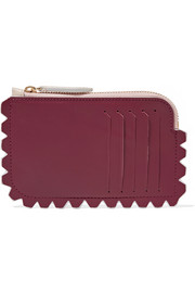 Scalloped two-tone leather cardholder